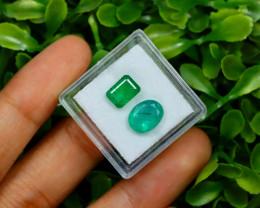 Zambian Emerald 3.61Ct 2Pcs Natural Green Color Emerald B0932