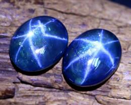 Blue Star Sapphire 6.23Ct 2Pcs Natural 6 Rays Blue Star Sapphire B0935