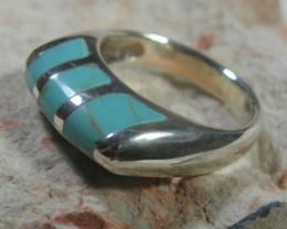 *JENZGEMS*  GENUINE TURQUOISE STERLING SILVER RING