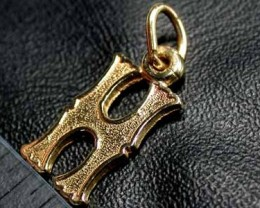 .90 grams  9K SOLID GOLD CHARM ACCESSORY LETTER H   L1642