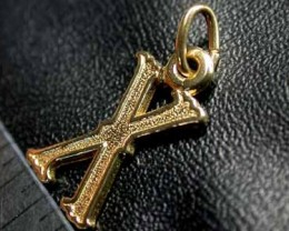 .80 grams 9K SOLID GOLD CHARM ACCESSORY LETTER X   L1643