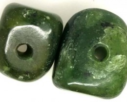 NATURAL SOLID JADE BEAD 2 PC 49 CTS TBG-1668