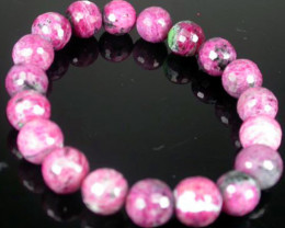 FACETD RUBY-ZOISITE BEADS BRACELETS 185 CTS [RZB2]