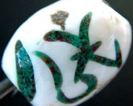 CONCH SHELL BEAD -DRILLED - INLAYED NEPAL 29.30 CTS [MX4579]