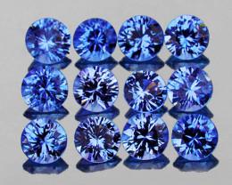 2.70 mm Round Machine Cut 12 pcs 1.00ct Blue Sapphire [VVS]