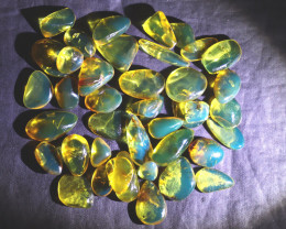 16 grams Dominican Clear Deep Blue Green Amber polished Stones biggest 18