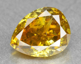 Diamond 1.12 Cts Sparkling Untreated 100% Natural Fancy Vivid Orange Yellow