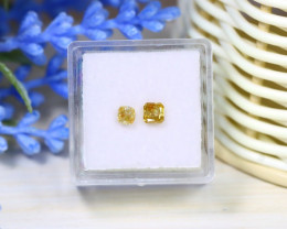 Yellowish Orange Diamond 0.64Ct 2Pcs Untreated Fancy Diamond A1015