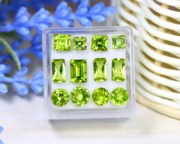 Peridot 8.14Ct 12Pcs Natural Neon Green Color Peridot Box A1023
