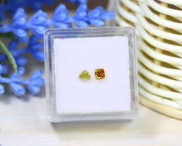 Yellowish Orange Diamond 0.33Ct 2Pcs Untreated Genuine Diamond A1037