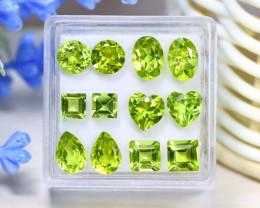 Peridot 8.16Ct 12Pcs Natural Neon Green Color Peridot Box C1008