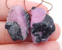 D1975 - 35.5cts Nugget Ruby Earrings gemstone earrings beads, Natural Gemst