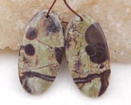 D1978 - 28.5cts Natural Mushroom Jasper Earring Beads Pair,Natural Oval Ear