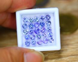 6.07ct Natural Violet Blue Tanzanite 4.1mm Round Cut Lot GW8909