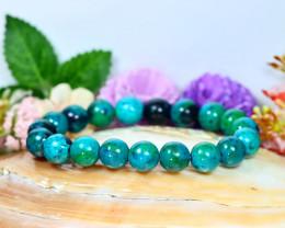 138.00Ct 10.0mm Natural Chrysocolla Beads Bracelet C1021