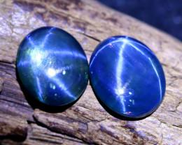 Blue Star Sapphire 5.70Ct 2Pcs Natural 6 Rays Blue Star Sapphire C1025