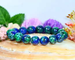 191.00Ct 12.0mm Natural Azurite Beads Bracelet C1033