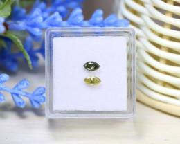 Green Yellow Diamond 0.38Ct 2Pcs Untreated Genuine Diamond C1036