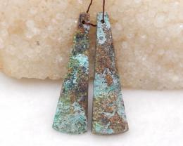 D1984 - 46cts African Turquoise Earrings Bead Pair,Handmade Gemstone ,Natur