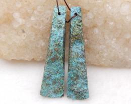 D1985 - 41.5cts African Turquoise Earrings Bead Pair,Handmade Gemstone ,Nat