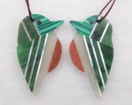 i135 - 19cts natural shell,Malachite,Nephrite Jade intarsia birds earring b