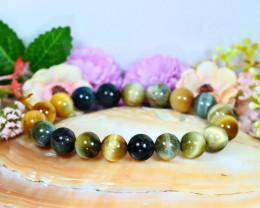 141.00Ct 10.0mm Natural Tiger Eye Beads Bracelet B1131