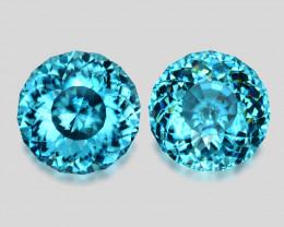 Flawless pair high gem custom round-cut Cambodian Zircons.