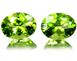 4.32Cts Genuine Excellent Natural Peridot 9x7mm Oval Shape Matching Pair VI