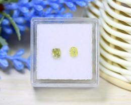 Yellow Diamond 0.52Ct 2Pcs Untreated Genuine Fancy Diamond B1309