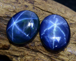 Blue Star Sapphire 7.58Ct 2Pcs Natural 6 Rays Blue Star Sapphire B1312