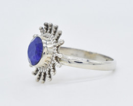 BLUE SAPPHIRE RING 925 STERLING SILVER NATURAL GEMSTONE AR1596