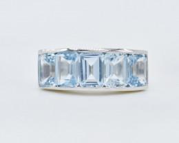 BLUE TOPAZ RING 925 STERLING SILVER NATURAL GEMSTONE AR1597