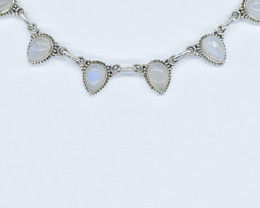 RAINBOW MOONSTONE NECKLACE NATURAL GEM 925 STERLING SILVER AN86