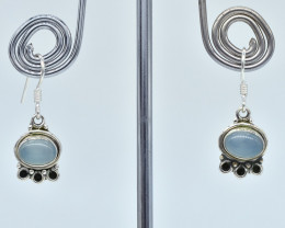 CHALCEDONY EARRINGS 925 STERLING SILVER NATURAL GEMSTONE AE1133