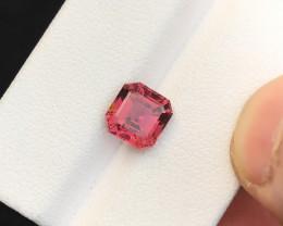 HGTL CERTIFIED 2.25 Ct Natural Pinkish Red Transparent Rubellite Tourmaline