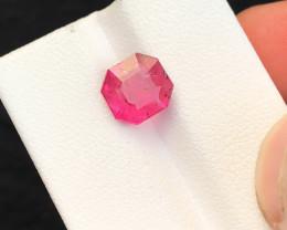HGTL CERTIFIED 2.68 Ct Natural Pinkish Red Transparent Rubellite Tourmaline