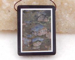 P0294 - 75.5ct Natural Larvite,White Agate,Obsidian Intarsia Pendant Bead
