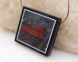 P0295 - 71.65 ct African Bloodstone, White Agate,Obsidian Intarsia Pendant