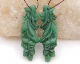 D1999 - 35.5cts Natural Green Jade carved Earrings Bead Pair,Natural  Earri