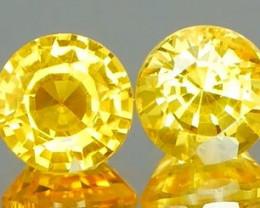 *Bidding Starts $15 NR* Electric Yellow Sapphire Round Pair1.44Ct