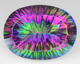 *NoReserve*Mystic Topaz 20.42 Cts Rare Aurora Borealis Colors Natural
