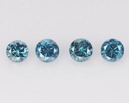 Diamond 0.36 Cts 4Pcs Sparkling Blue Natural