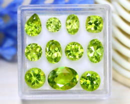 Peridot 8.56Ct VS 11Pcs Natural Neon Green Color Peridot Box B1526