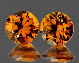 6.00 mm Round 2 pcs 2.10cts Golden Yellow Zircon [VVS]