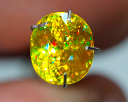 IF! RAINBOW GLOW! 2.55 CT Green Yellow Sphene (Titanite) (RUSSIA)