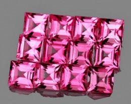 2.80 mm Square 12 pcs 1.50cts Pink Tourmaline [VVS]
