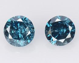 Diamond 0.18 Cts 2Pcs Sparkling Intense Blue  Natural