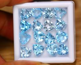30.62Ct Natural Sky Blue Topaz Trillion Cut Lot GW8933