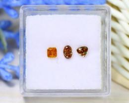 0.47Ct 3Pcs Orange Diamond Untreated Genuine Fancy Diamond A1405