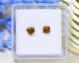 0.66Ct 2Pcs Orange Diamond Untreated Genuine Fancy Diamond A1417